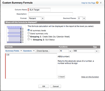 Adding Target Line to Salesforce report using Custom Summary Formulas